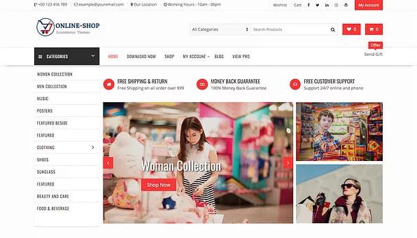 دومین قالب فروشگاه اینترنتی رایگان Online Shop