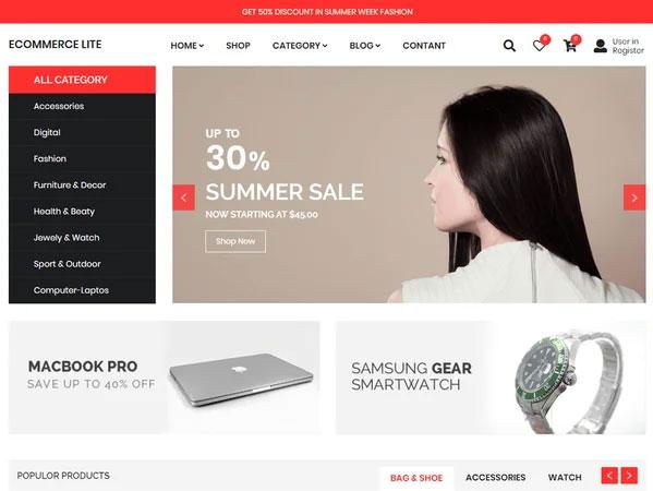 چهارمین قالب فروشگاه اینترنتی رایگان eCommerce Lite