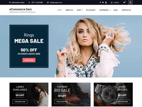 پنجمین قالب فروشگاه اینترنتی رایگان eCommerce Gem